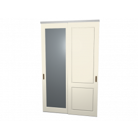 Schuifdeuren Sophie en Lars ivoor met spiegel 2-deurs