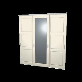 Schuifdeuren Sophie en Jens ivoor met spiegel 3-deurs