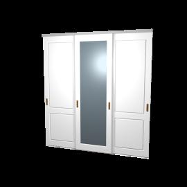 Schuifdeuren Lars en Sophie wit hoogglans spiegel 3-deurs
