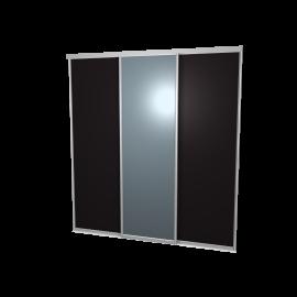 Schuifdeuren zwart en spiegel 3-deurs