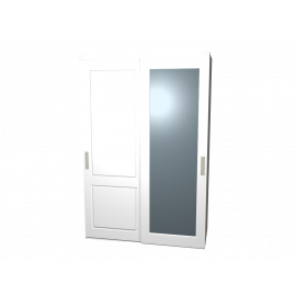 Schuifdeurkast Lars en Sophie hoogglans wit met linnen kastinterieur 2-deurs