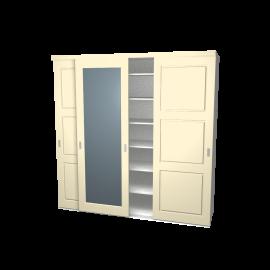 Schuifdeurkast Jens en Sophie ivoor 3-deurs met wit kastinterieur