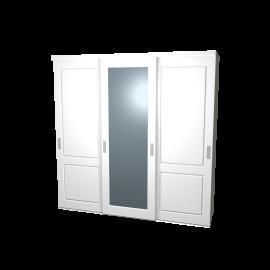 Schuifdeurkast Lars en Sophie hoogglans wit met kastinterieur (linnen) 3-deurs