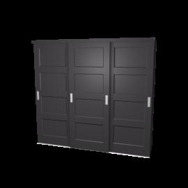 Schuifdeurkast Ruben (antraciet) met kastinterieur (antraciet) 3-deurs