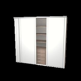 Schuifdeurkast Mirthe wit met kastinterieur (linnen) 3-deurs