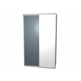 Schuifdeurkast spiegel & wit met kastinterieur aluminium 2-deurs