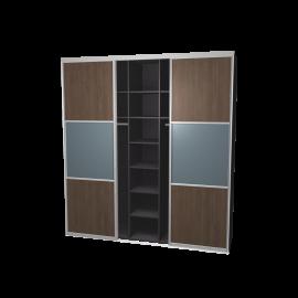 Schuifdeurkast meervlaks eiken antraciet & spiegel met kastinterieur antraciet 3-deurs