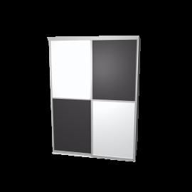 Schuifdeurkast meervlaks antraciet & wit melkglas met kastinterieur aluminium 2-deurs