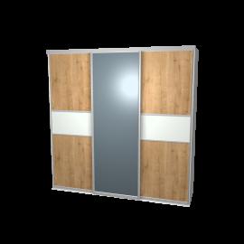 Schuifdeurkast eiken blond & glas wit & spiegel met kastinterieur wit 3-deurs