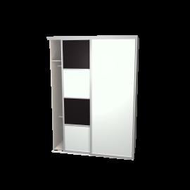 Schuifdeurkast meervlaks zwart & glaswit met kastinterieur linnen 2-deurs