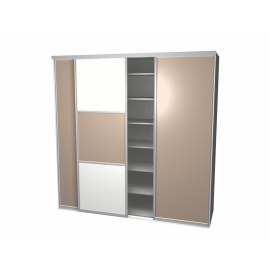 Schuifdeurkast meervlaks wit & glas cappuchino met kastinterieur aluminium 3-deurs