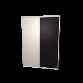 Schuifdeurkast zwart & linnen met kastinterieur antraciet 2-deurs