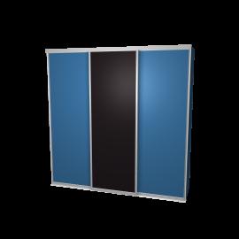 Schuifdeurkast blauw&schoolbord met kastinterieur blauw 3-deurs