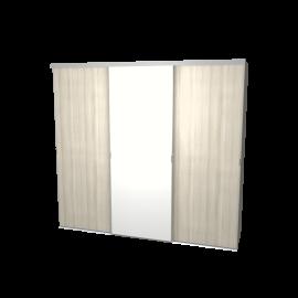 Schuifdeurkast eiken wit & wit met kastinterieur linnen 3-deurs