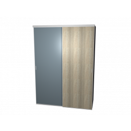 Schuifdeurkast spiegel & eikengrijs met kastinterieur aluminum 2-deurs