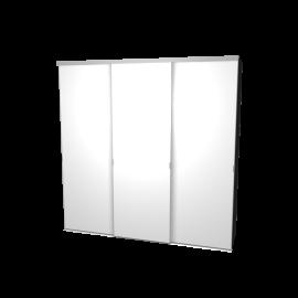 Schuifdeurkast hoogglans wit met kastinterieur antraciet 3-deurs