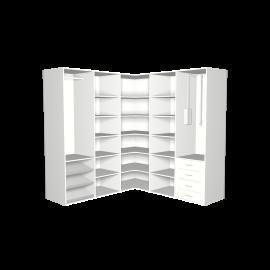 Hoekkast wit met hanggedeeltes garderobelift en lades