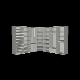Hoekkast aluminium met hanggedeeltes garderobelift en lades