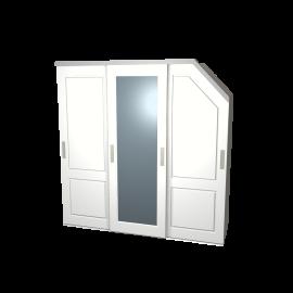 Schuifdeurkast schuine hoek Sophie / Lars wit met kastinterieur linnen 3-deurs
