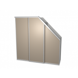 Schuifdeurkast schuine hoek agaatgrijs met kastinterieur linnen 3-deurs