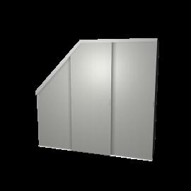 Schuifdeurkast schuine hoek aluminium met kastinterieur antraciet 3-deurs