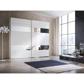 Garderobekast met schuifdeuren en twee horizontale banen van spiegel