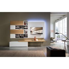 TV-kast met hangend element en houten draagplank en led-verlichting
