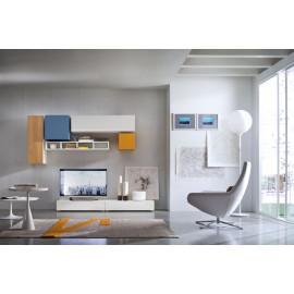 TV-kast met speelse hangende elementen en opbergruimte