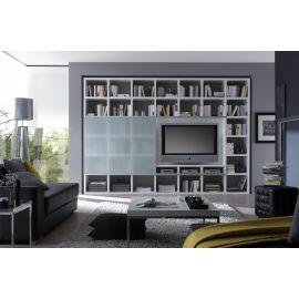 TV-kast op maat met schuifdeur in matglas