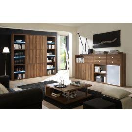 Wandkast op maat in houtfineer met glazen deur en dressoir