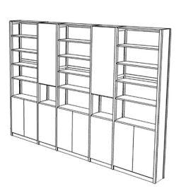 Boekenkast 22 schappen met deuren
