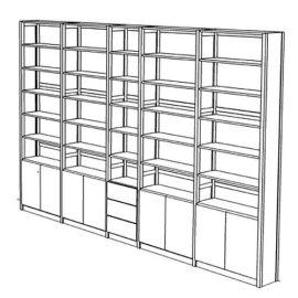 Boekenkast 35 schappen met deuren en laden