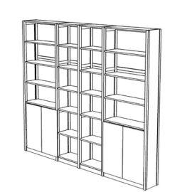 Boekenkast 24 schappen met deuren