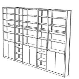 Boekenkast 36 schappen met deuren