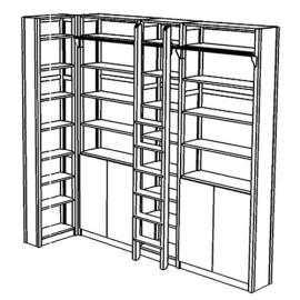 Boekenkast met hoekopstelling, 30 schappen en deuren