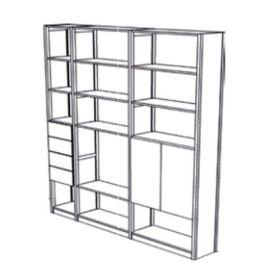 Boekenkast 16 schappen met deuren en laden