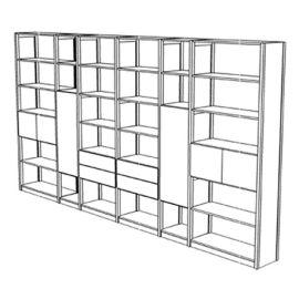 Boekenkast 32 schappen met deuren en laden